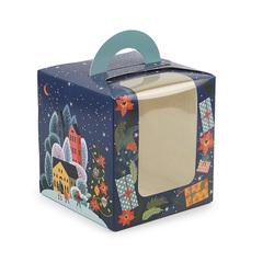 Коробка унiверсальна 115*115*120 з ручкою Новорічний лист
