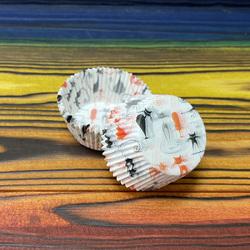 Форма для кексів Коти №2 50х30 50шт. (помаранчево-чорні)