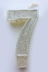 """Свеча цифра """"7"""" с блестками серебро"""