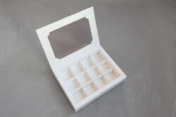 Коробка для конфет 200х155х30 на 12 штук белая