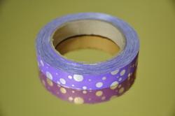 Декоративная лента 2*50 цвет фиолетовый с горошком