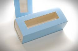 Коробка для макаронс Блакитна, розмір 141 * 59 * 49 мм