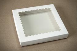 """Коробка для печива, пряників з віконцем 210х210х30 мм, крейдований картон """"кришка-дно"""""""