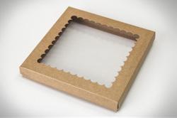 """Коробка для печива, пряників з віконцем 210х210х30 мм, крафт картон """"кришка-дно"""""""