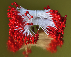 Тычинки для цветов двухсторонние на нитке Красные