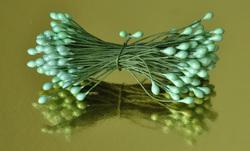Тычинки для цветов двухсторонние на проволке Нежно-зеленные