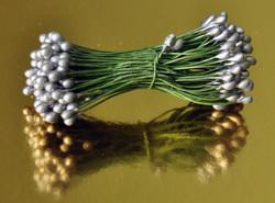 Тычинки для цветов двухсторонние на проволке Серебрянные