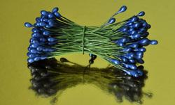 Тычинки для цветов двухсторонние на проволке Синие