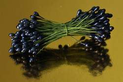 Тычинки для цветов двухсторонние на проволке Темно-синие