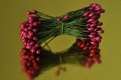Тычинки для цветов двухсторонние на проволке Вишневые